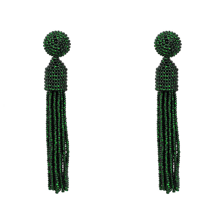 Tassel Beaded Designer Earring Dark Green - LATELITA
