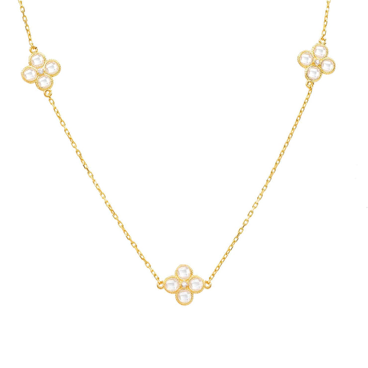 Flower Clover Long Chain White Quartz Necklace Gold - LATELITA