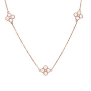 Long  Chain Flower Clover White Quartz Necklace Rosegold