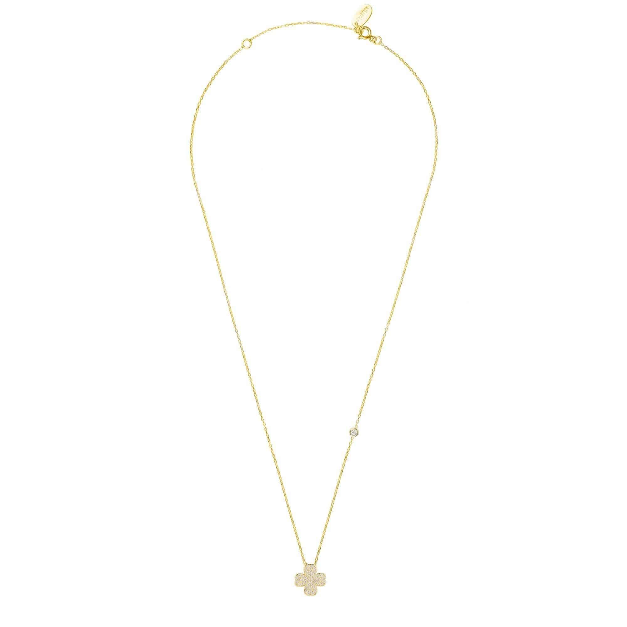 clover chanel four metallic gold leaf necklace pendant lyst in gallery jewelry