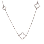 Long Open Clover White CZ Necklace Silver