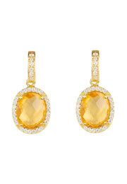 Beatrice Oval Gemstone Drop Earrings Gold Citrine Hydro - LATELITA
