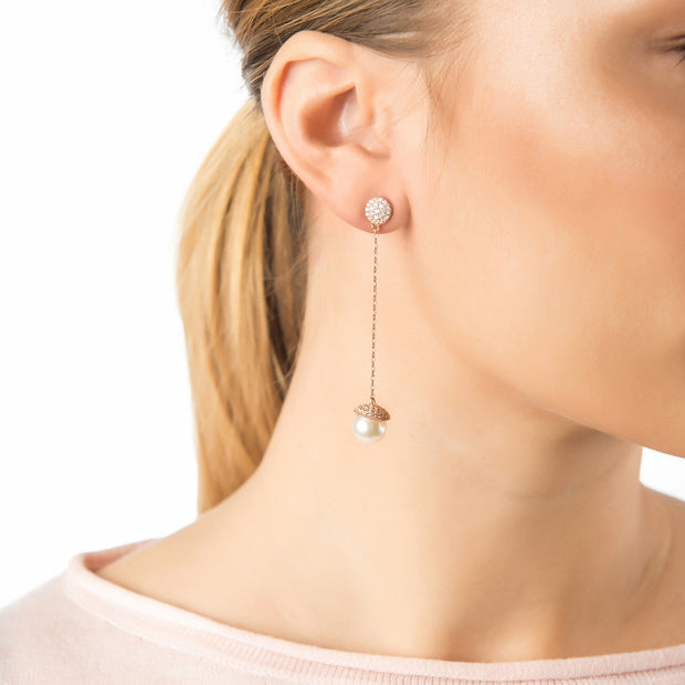 Pearl Long Drop Earrings Silver