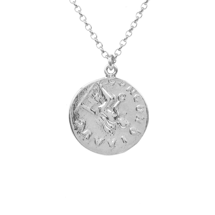 Matte Roman Coin Pendant Necklace silver