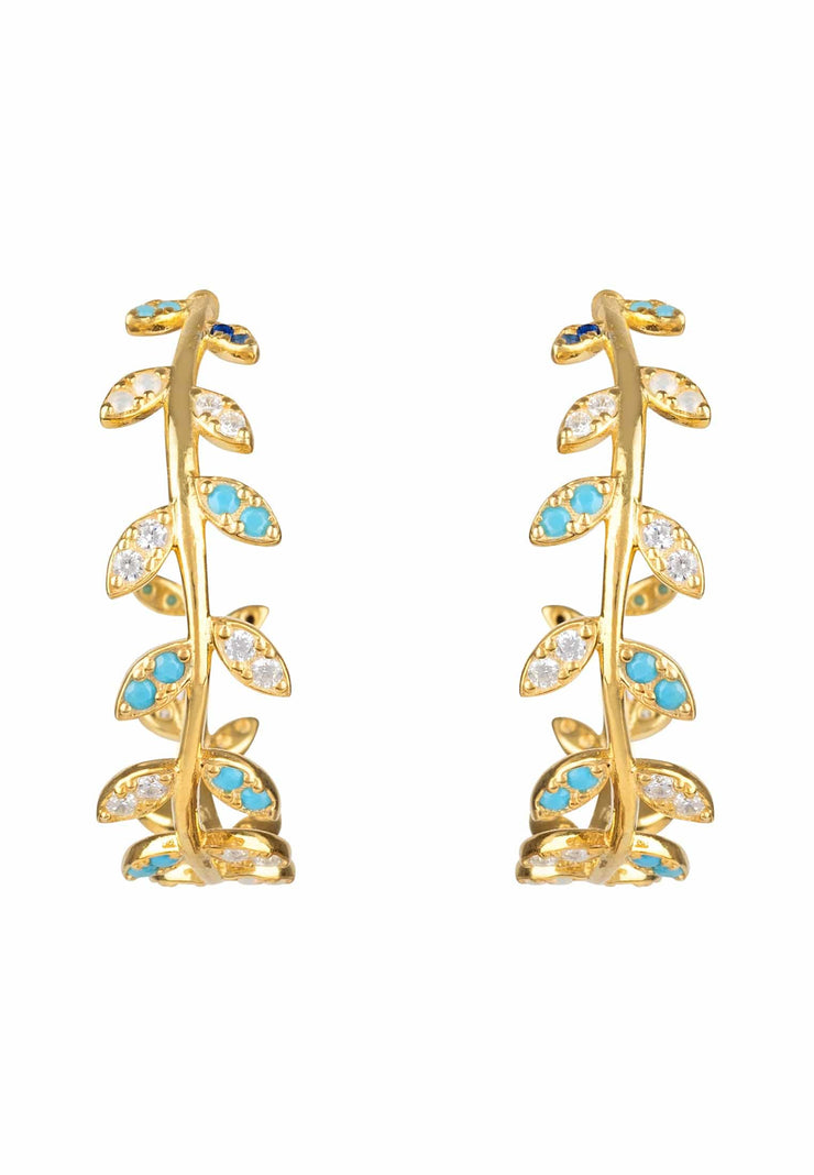 Laurel Leaf Hoop Earring Turquoise Gold - LATELITA