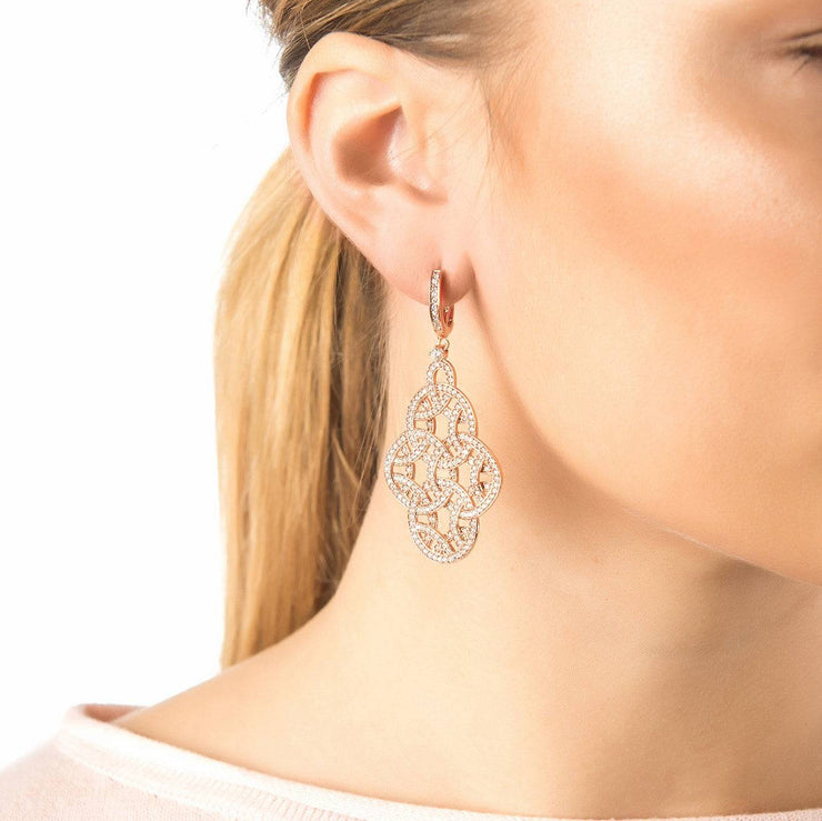 Celtic Knot Aoife Drop Earring Rose Gold