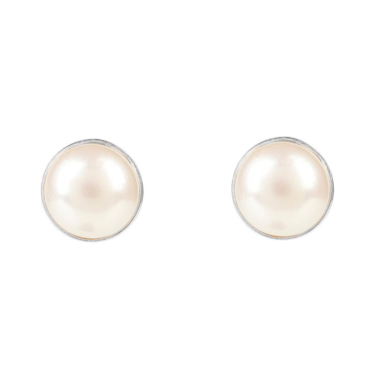 Medium Circle Stud Silver Pearl - LATELITA