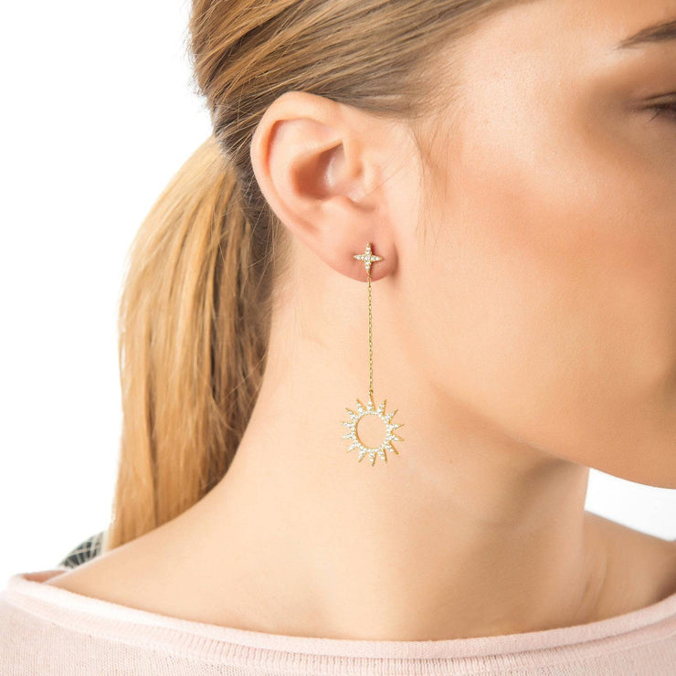 Sun Day and Night Drop Earrings Rosegold
