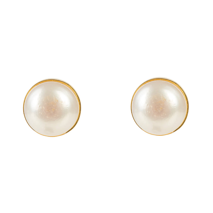 Medium Circle Stud Gold Pearl - LATELITA