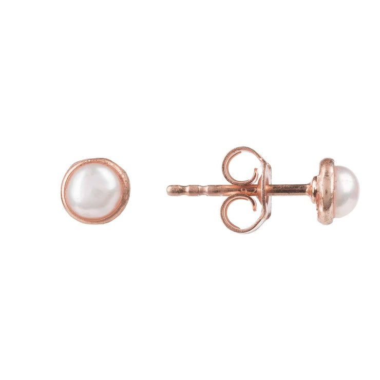 Petite Stud Earring Rosegold White Pearl