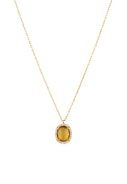 Beatrice Oval Gemstone Pendant Necklace Gold Citrine Hydro - LATELITA