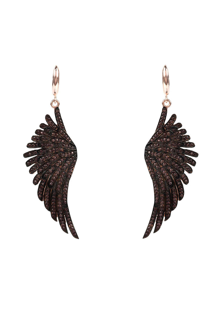 Angel Wing Drop Earring Rosegold Chocolate - LATELITA