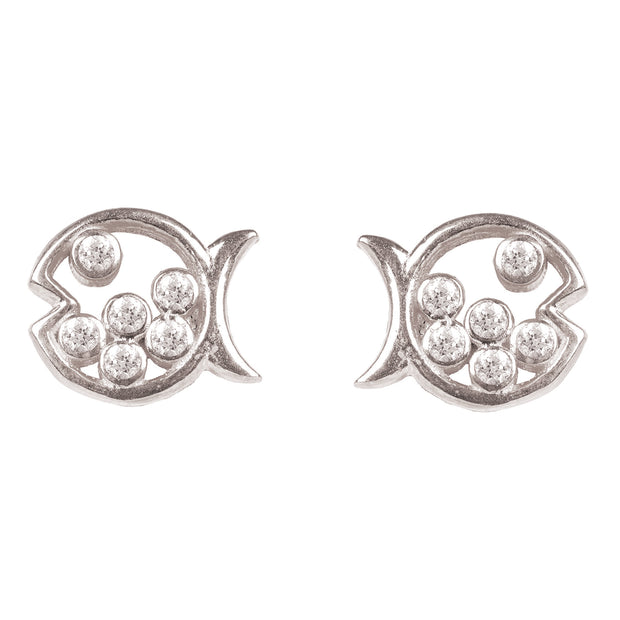 Bubble Fish Stud Earrings Silver