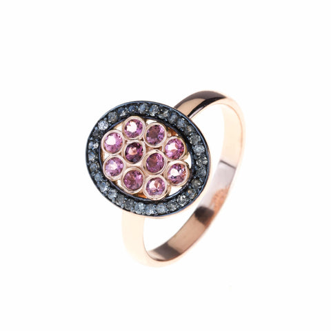 Diamond Pink Tourmaline Oval Ring