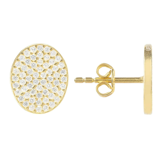 Oval Sparkling Disc Earring - LATELITA