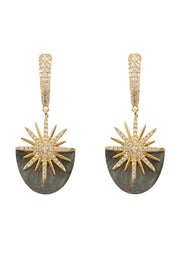 Sunburst Grey Mother Of Pearl Earring Gold - LATELITA