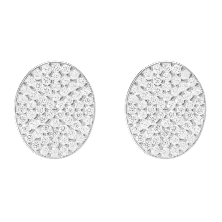 Sparkling Oval Disc Earring