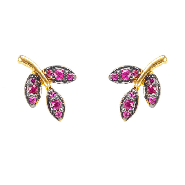 Leaf Ruby Gemstone Stud Earrings Gold