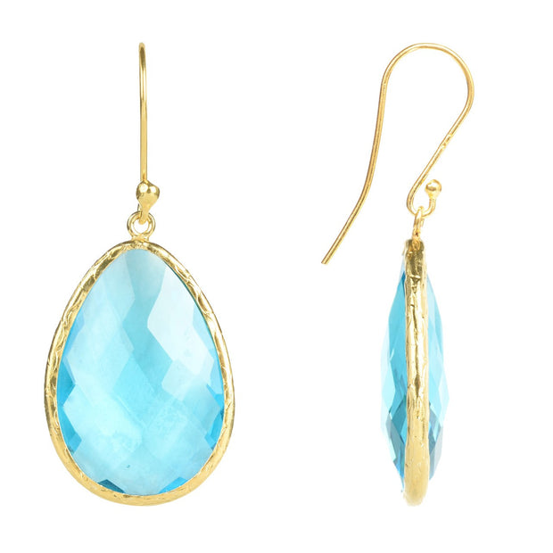 Gold Single Drop Earring Blue Topaz - LÁTELITA - 2