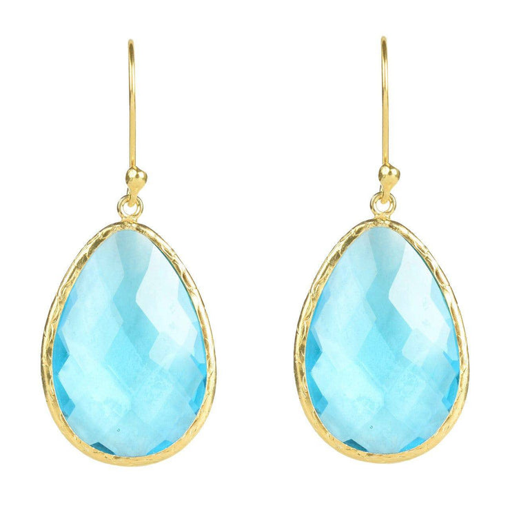 Gold Single Drop Earring Blue Topaz - LÁTELITA - 1