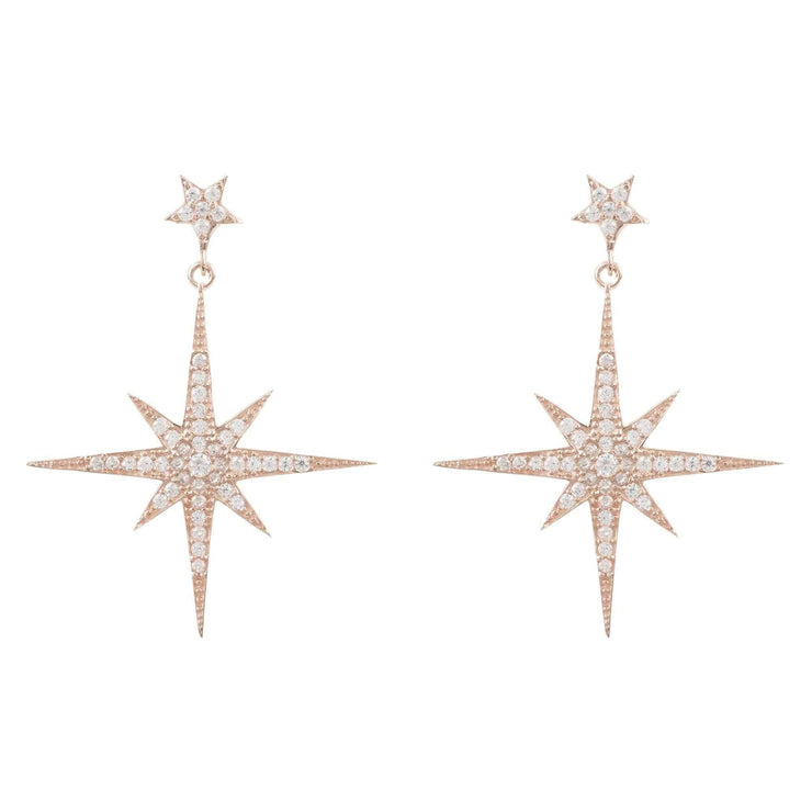 Large Star burst Drop Earring Rosegold