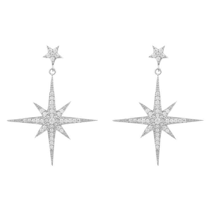 Large Star burst Drop Earring Silver - LATELITA