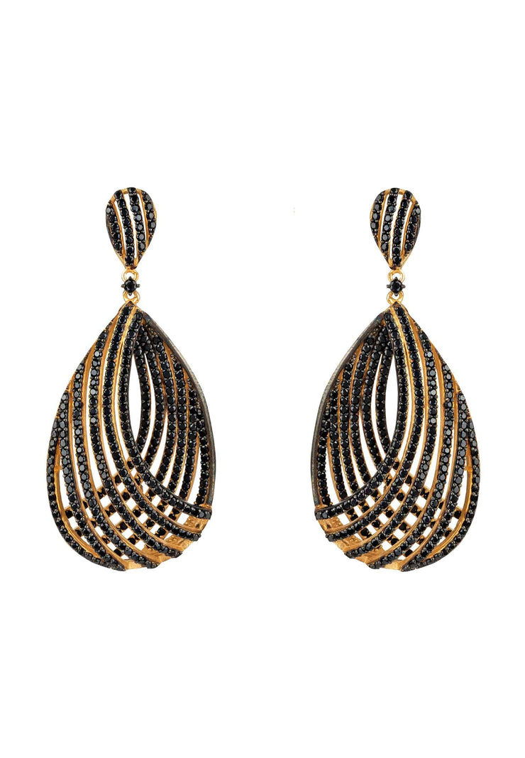 Vortex Teardrop Earring Black CZ - LATELITA