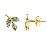 Leaf Stud Earring Tsavorite Green Gold - LATELITA