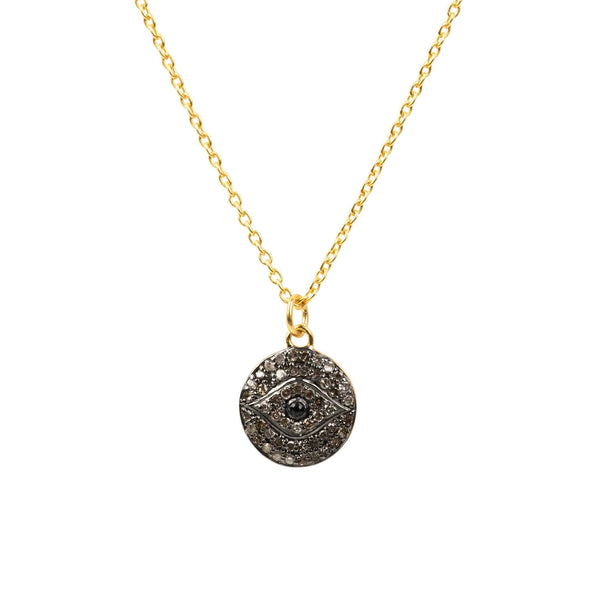 Diamond & Sapphire Evil Eye Necklace Gold