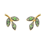 Leaf Stud Earring Tsavorite Green Gold