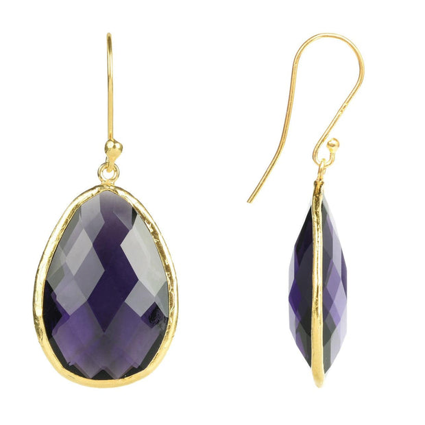 Gold Single Drop Earring Amethyst - LÁTELITA - 2