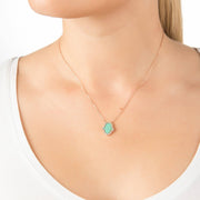 Hamsa Green Opalite Necklace Rosegold - LATELITA