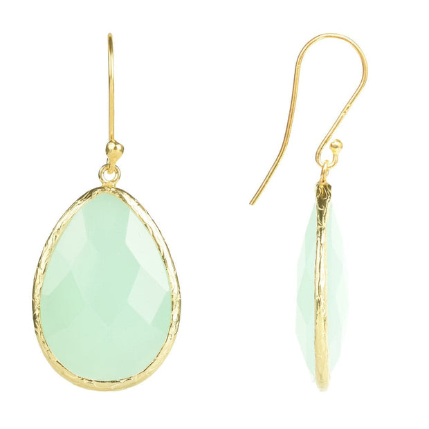 Gold Single Drop Earring Aqua Chalcedony - LÁTELITA - 2
