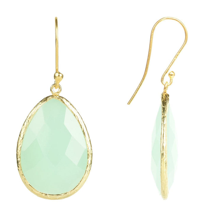 Single Drop Earring Aqua Chalcedony Gold - LATELITA