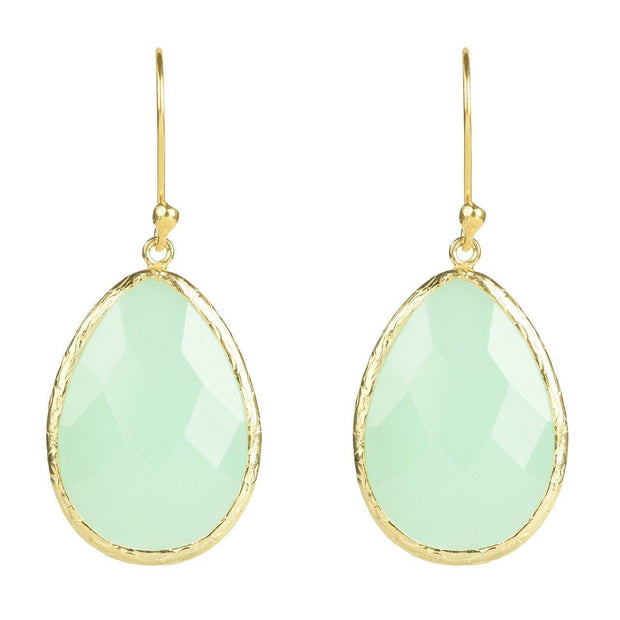 Gold Single Drop Earring Aqua Chalcedony - LÁTELITA - 1