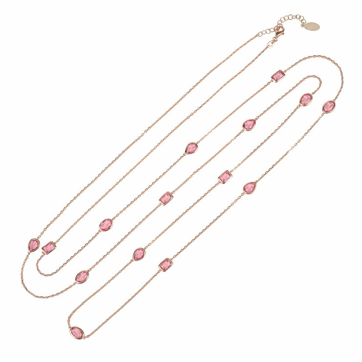 Venice 120cm Long Chain Necklace Rosegold Pink Tourmaline