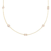 Venice 120cm Long Chain Necklace Gold Rose Quartz