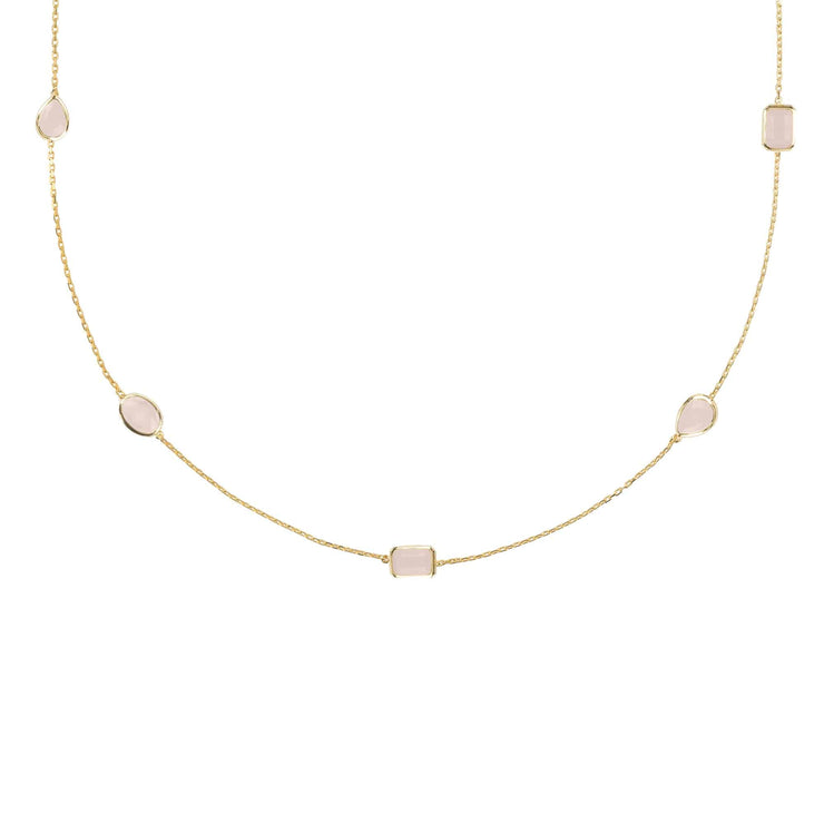 Venice 120cm Long Chain Necklace Gold Rose Quartz - LATELITA