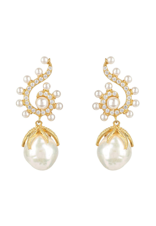 Baroque Pearl Poseidon Gemstone Drop Earrings White Gold - LATELITA