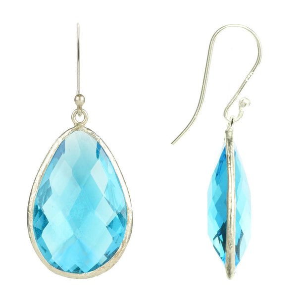 Silver Single Drop Earring Blue Topaz - LÁTELITA - 2