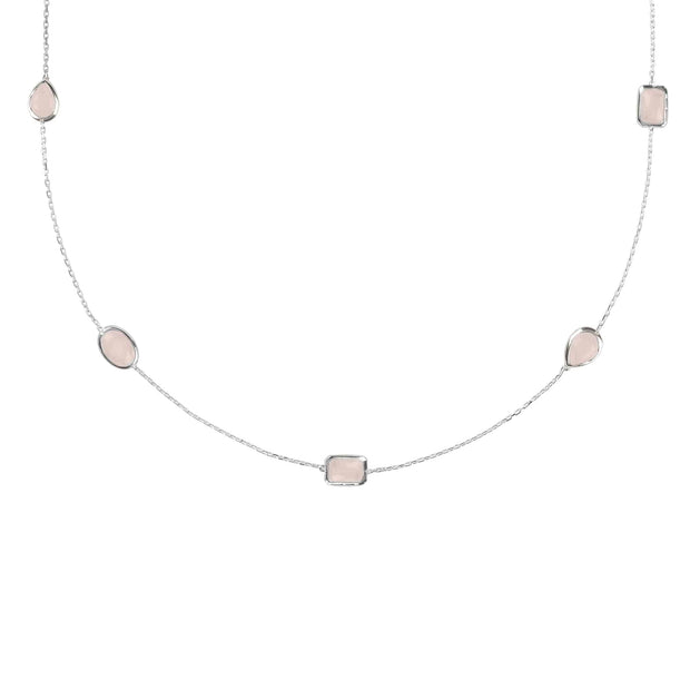 Venice 120cm Long Chain Necklace Silver Rose Quartz