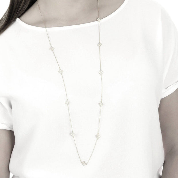 Long Chain Flower Clover White Quartz Necklace Silver