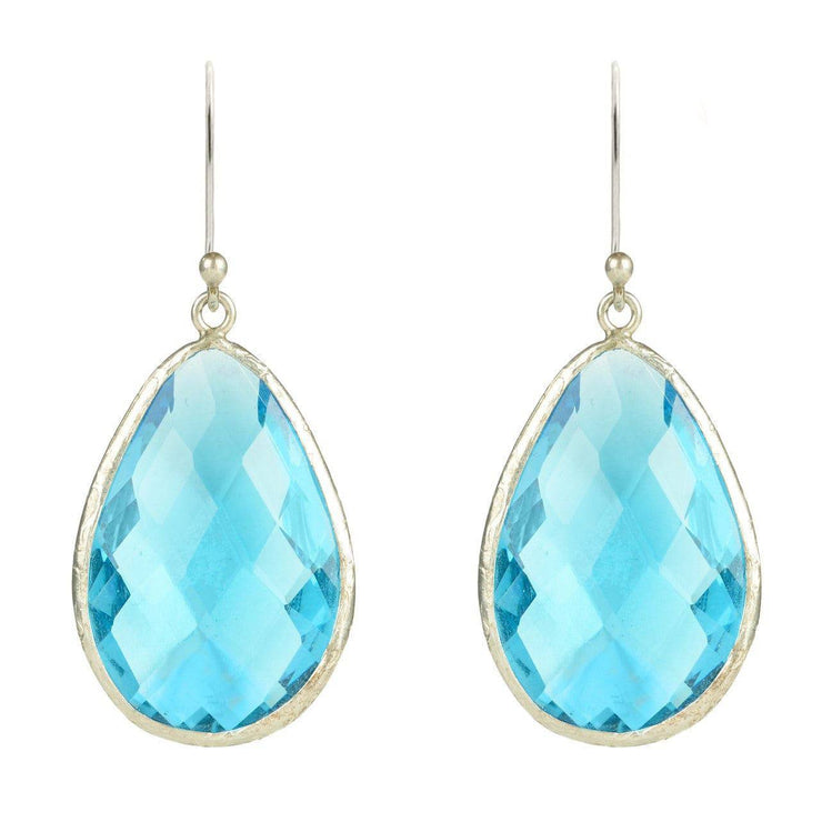 Silver Single Drop Earring Blue Topaz - LÁTELITA - 1