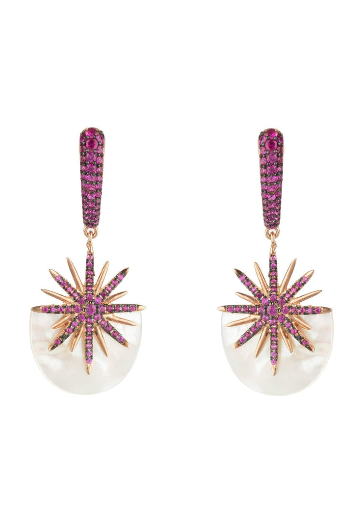 Sunburst White Mother of Pearl Earring Ruby Pink Rose Gold - LATELITA