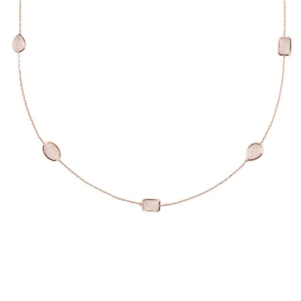 Venice 120cm Long Chain Necklace Rosegold Rose Quartz