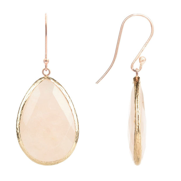 Rosegold Single Drop Earring Rose Quartz - LÁTELITA - 2