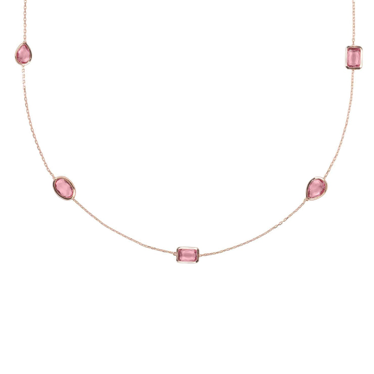 Venice 120cm Long Chain Necklace Rosegold Pink Tourmaline - LATELITA