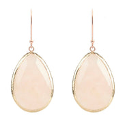 Rosegold Single Drop Earring Rose Quartz - LÁTELITA - 1