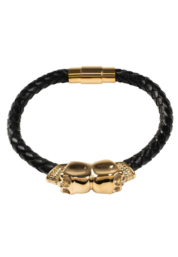 Skull Black Leather Bracelet gold - LATELITA