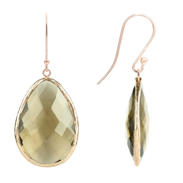 Single Drop Earring Smokey Quartz Rosegold - LATELITA
